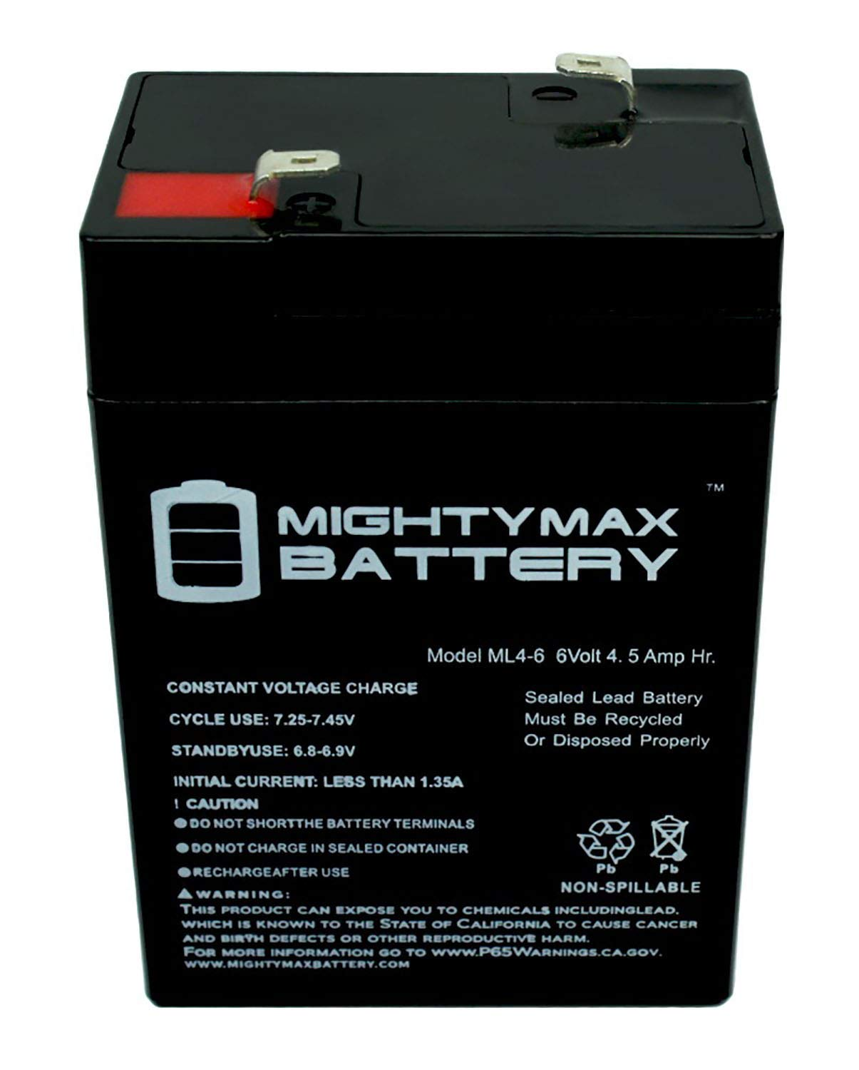 Mighty Max Battery ML4-6 - 6V 4.5AH Replacement Battery for YT-645 with F1 Terminal - 15 Pack Brand Product by Mighty Max Battery (Image #3)