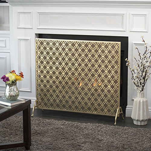 Christopher Knight Home Elmer Single Panel Gold Iron Fire Screen
