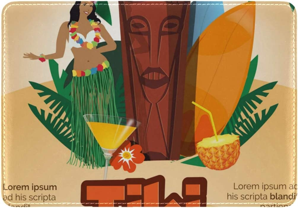 LEISISI Tiki Party Genuine Real Leather Passport Holder Cover Travel Case
