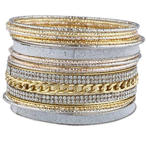 Mixed Bangle Set (Lux Accessories Mixed Metal Sticker Glitter Curb Chain Bangle Bracelet Set 15PC)