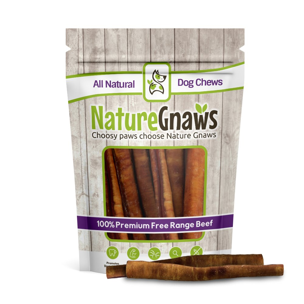 Nature Gnaws Large Bully Sticks 5-6'' (10 Pack) - 100% All Natural Grass-Fed Free-Range Premium Beef Dog Chews