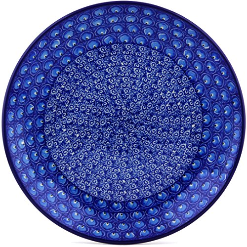 Polish Pottery Lunch Plate 10-inch made by Ceramika Artystyczna (Blue Peacock Theme) (Peacock Plates Blue)