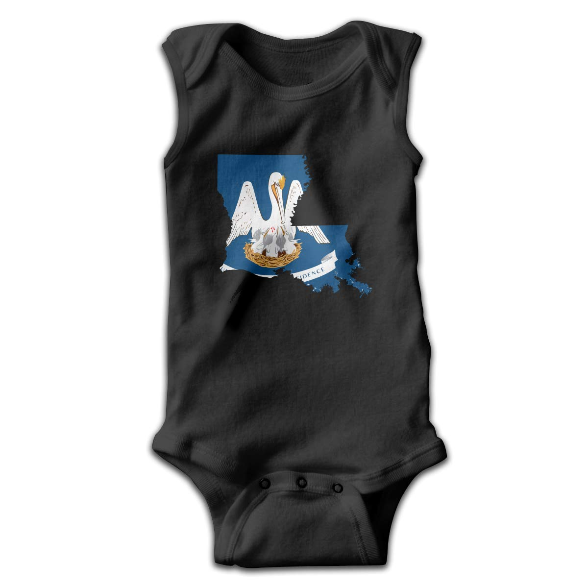 Dunpaiaa Louisiana State Flag Smalls Baby Onesie,Infant Bodysuit Black