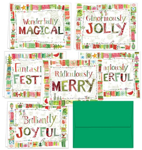 72 Holiday Cards - Quirky Holiday Wishes - 6 Designs - Blank Cards - Green Envelopes Included