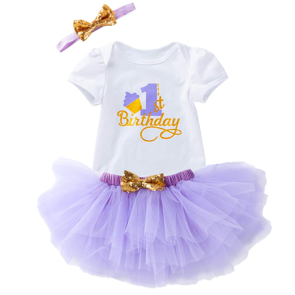 Birthday Outfit Baby Girls Romper+Ruffle Tulle Skirt+Sequins Bow Headband Cake Smash Tutu Dress Party Clothes 3Pcs Set