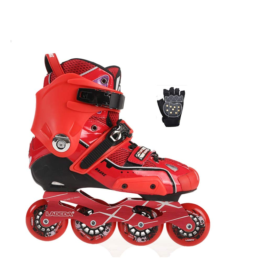 YANGXIAOYU Inline Skates, One-Piece Design Full Flash Wheels Inline Skates Set Blue Red Suitable for Men and Women Boys Girls (Color : Red, Size : 37 EU/5 US/4 UK/23.5cm JP)