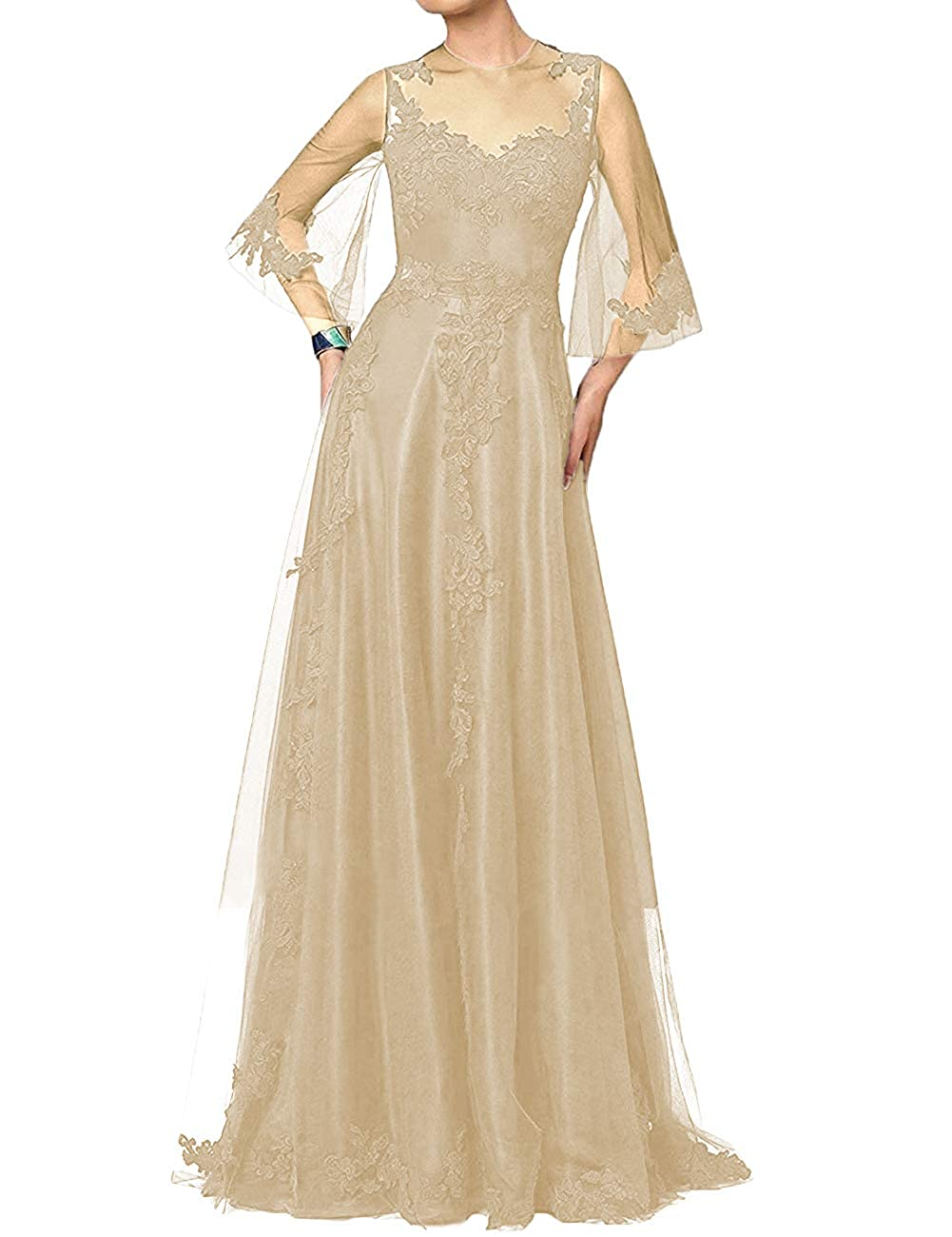 Champagne H.S.D Mother of The Bride Dress Aline Mother Dresses Long Prom Evening Gowns Sleeve