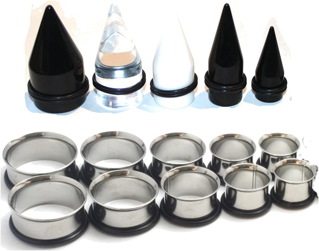 Zaya Body Jewelry 15 Pc Huge Tapers Ear Stretching Kit Black White Clear Tapers and Surgical Steel Tunnels 0g-1 inch