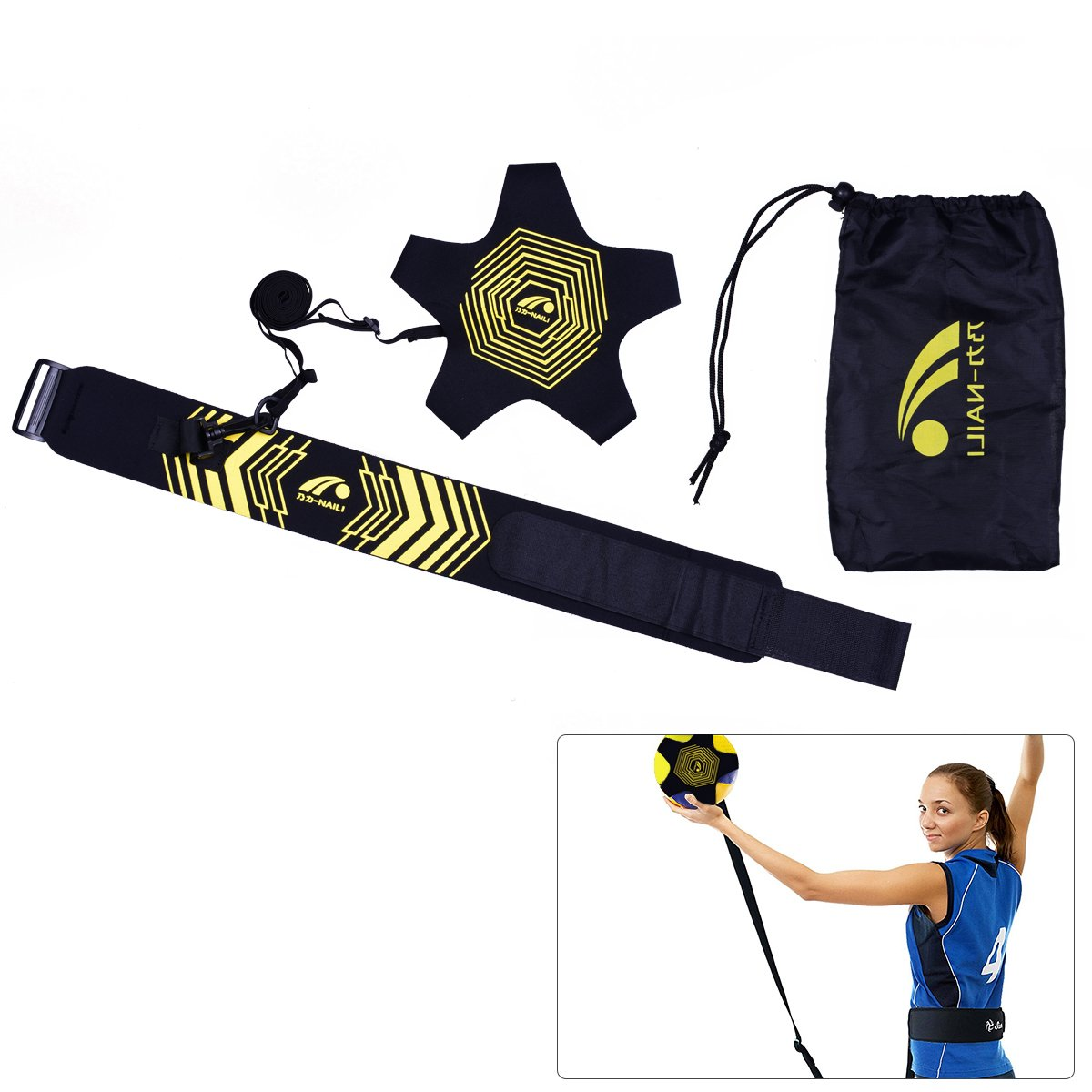 YoungRich Football Trainer Soccer Volleyball Training Aids Hands Free Solo Practice Including Belt Ball Bag Elastic Rope Adjustable Breathable Universal for Kids Adult Training Practicing