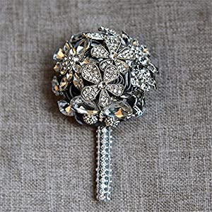 MOJUN Crystal Rhinestone Boutonniere Corsage for Wedding Prom Party Satin Rose Groom Brooch, Pack of 2, Gray