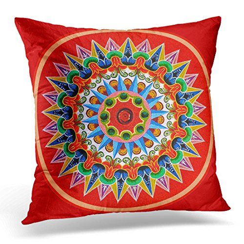 (VANMI Throw Pillow Cover Rica Costa Rican Tradition Folklore Travel Painting Oxcart Decorative Pillow Case Home Decor Square 20x20 Inches Pillowcase)