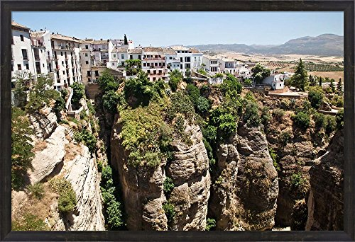 Spain, Andalusia, Malaga Province Hillside town of Ronda by Julie Eggers / Danita Delimont Framed Art Print Wall Picture, Espresso Brown Frame, 40 x 27 inches by Great Art Now
