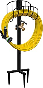 Artigarden Freestanding Garden Hose Holder Stake with Brass Faucet, Heavy Duty Metal Water Pipe Storage Stand Rack for Outdoor