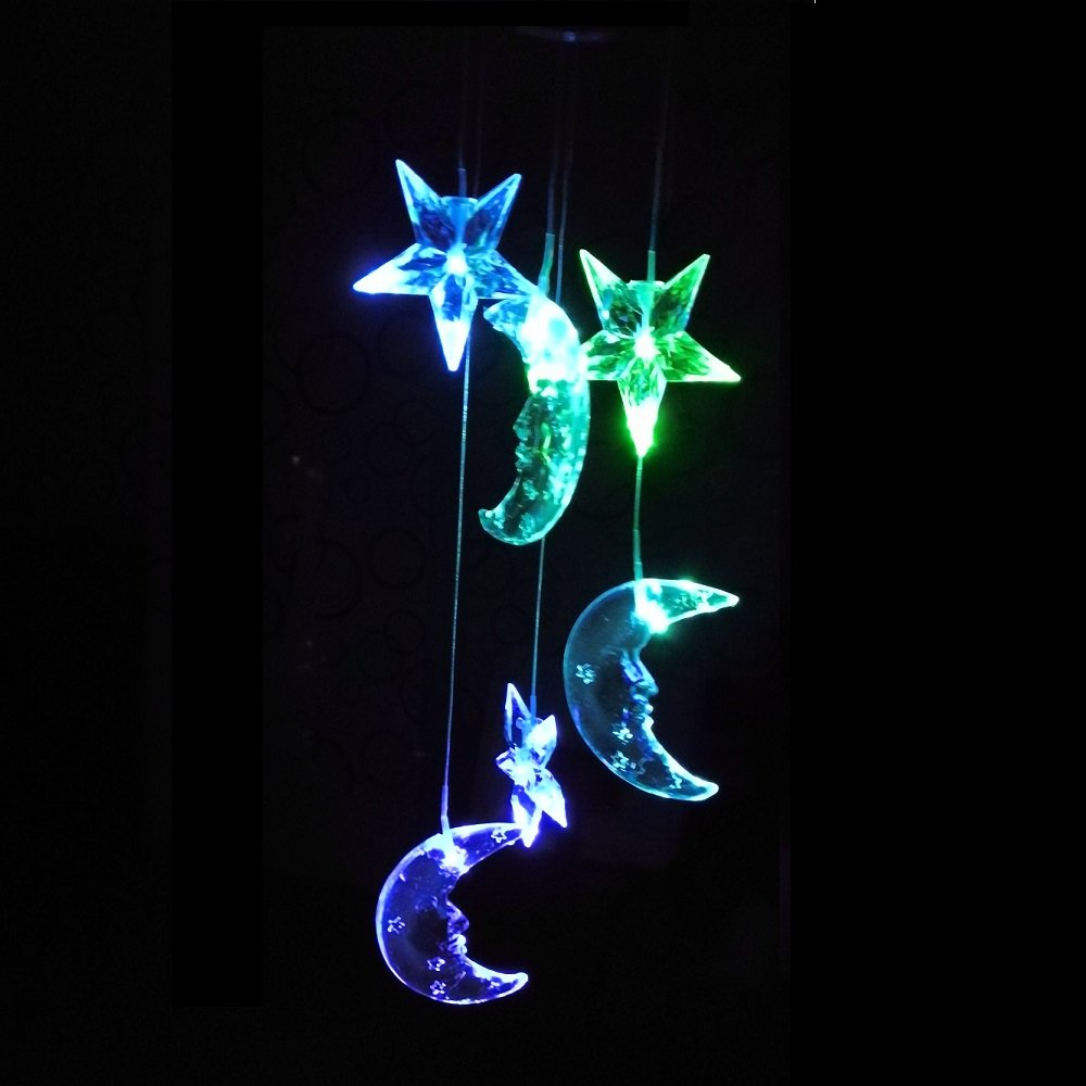 Lighten Glimmer Colorful Solar Spiral Wind Waterproof Changing Romantic Star Moon Wind Chime Light Mobile Balcony Courtyard Hanging (For Outdoor Garden) by Lighten Glimmer (Image #6)