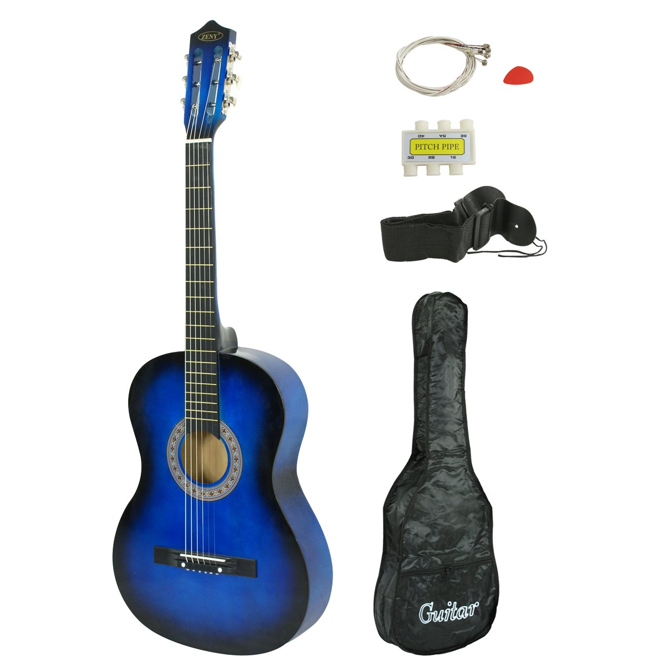 ZENY Beginners 38'' Acoustic Guitar Package Kit for Right-handed Starters Kids Music Lovers w/Solid Wood Body, Case, Strap, Digital E-Tuner, and Pick, Blue