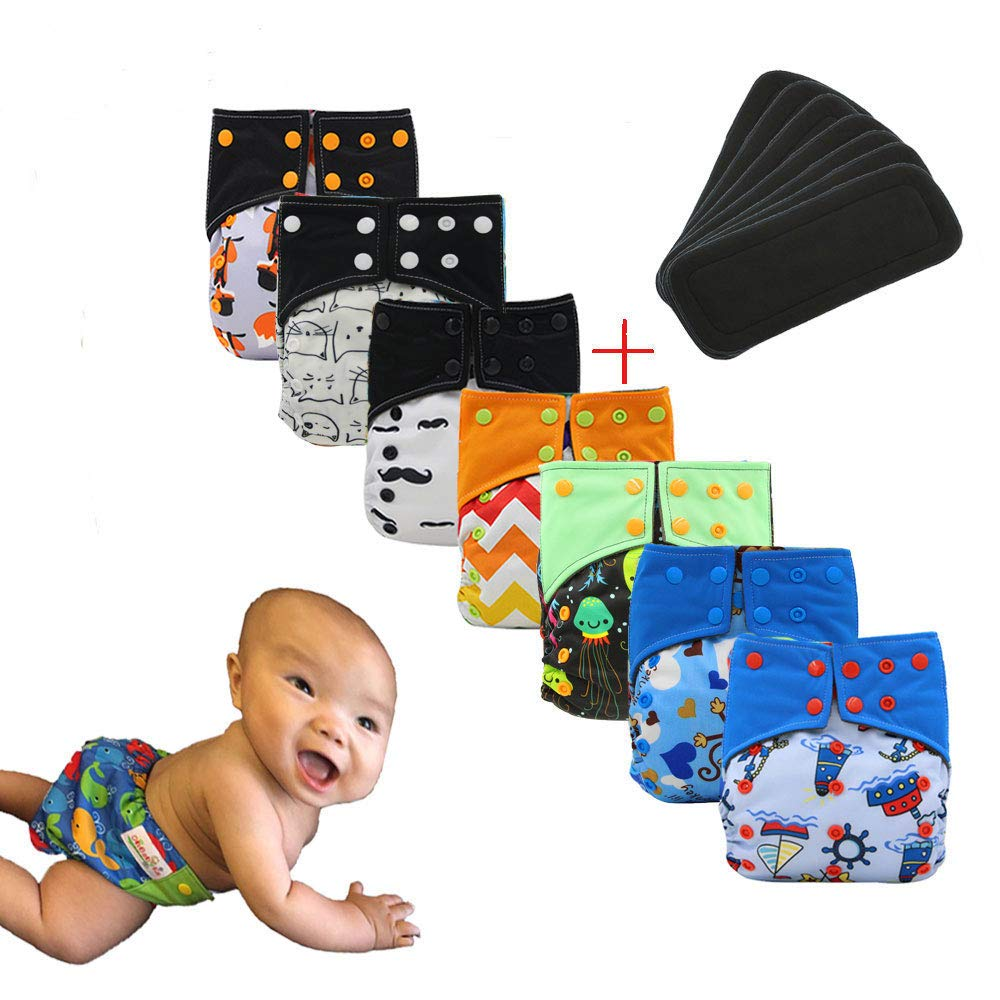 Ohbabyka Baby Waterproof AI2 Charcoal Bamboo Cloth Diapers Nappies, with 7PCS Bamboo Charcoal Inserts
