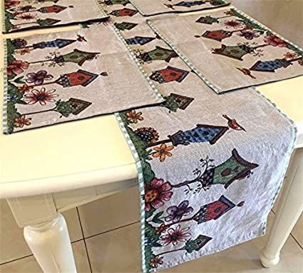Merveilleux Set Of 1 Tapestry Table Runner And 4 Placemats,Colorfulife Boutique Art  Jacquard Design Mats
