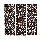 Benzara Set of 3 Carved Plaques Wall Installation