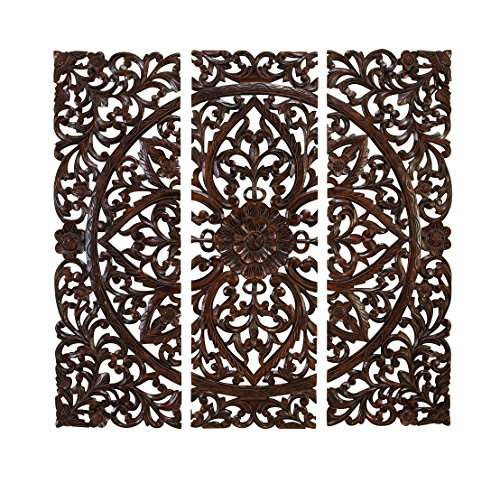 Benzara Set of 3 Carved Plaques Wall (Carved Wood Frame Mirror)