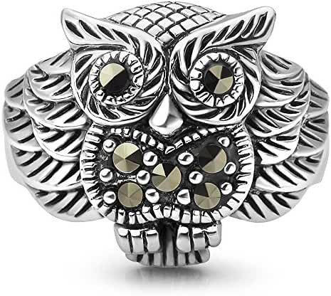 925 Oxidized Sterling Silver Owl Bird Marcasite Band Ring Women Jewelry Size 6, 7, 8