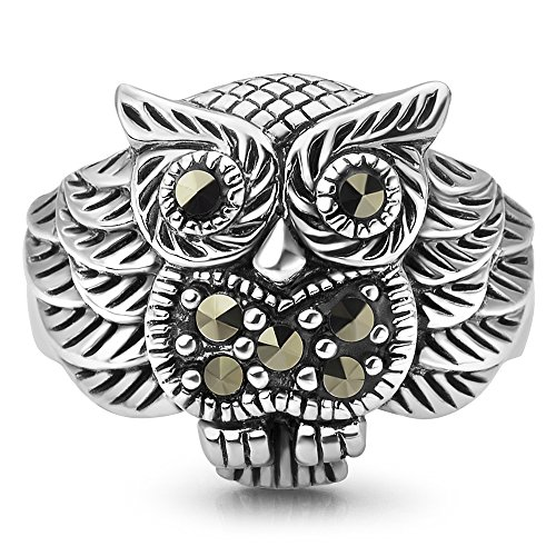 Chuvora 925 Oxidized Sterling Silver Owl Bird Marcasite Band Ring Women Jewelry Size 8