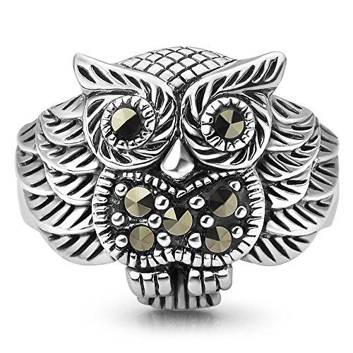 Chuvora 925 Oxidized Sterling Silver Owl Bird Marcasite Band Ring Women Jewelry Size 6