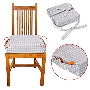 Usning Chair Increasing Cushion Kids Dining Chair Heightening Portable Booster Seat Cushion Travel Dining Seat Pad for Toddler Kids Baby Infant Washable Thick Chair Seat Pads White