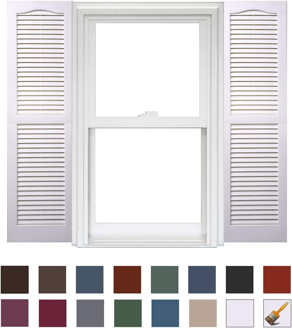 x 43in Homeside Open Louver Shutter 1 Pair 14-1//2in 730 Sandstone