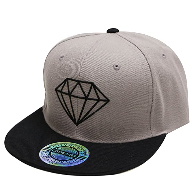 Image Unavailable. Image not available for. Color  City Hunter Cf918t  Diamond Snapback Cap - Light Grey black dcb42b87fa2d