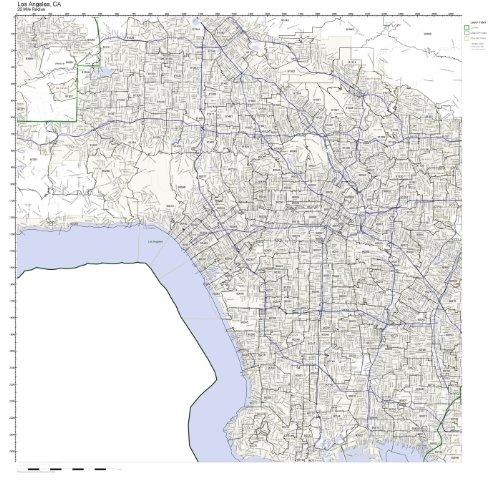 County Map Angeles Zip Code Los - Los Angeles, CA ZIP Code Map Laminated