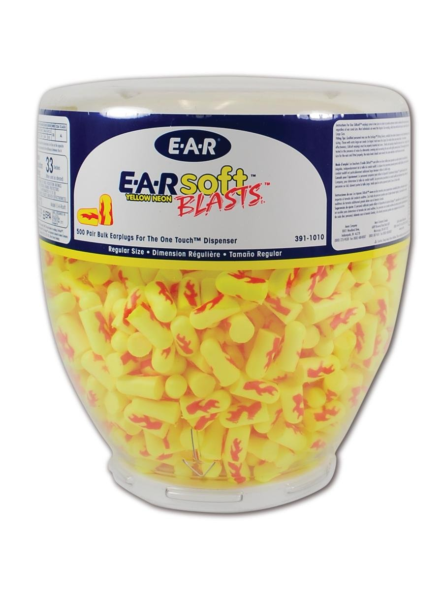 E-A-R by 3M 10080529910124 391-1010 soft Yellow Neon Blasts Disposable Uncorded Earplugs, One Size Fits All (Pack of 500)
