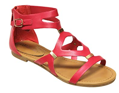 246ee408382469 Breckelle s Women s Ruby-61 Strappy Synthetic Flats Gladiator Back Zipper  Sandals Fuchsia 7 ...