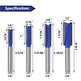 Wolfride 4pcs Straight Cut Router Bits 1/4-Inch