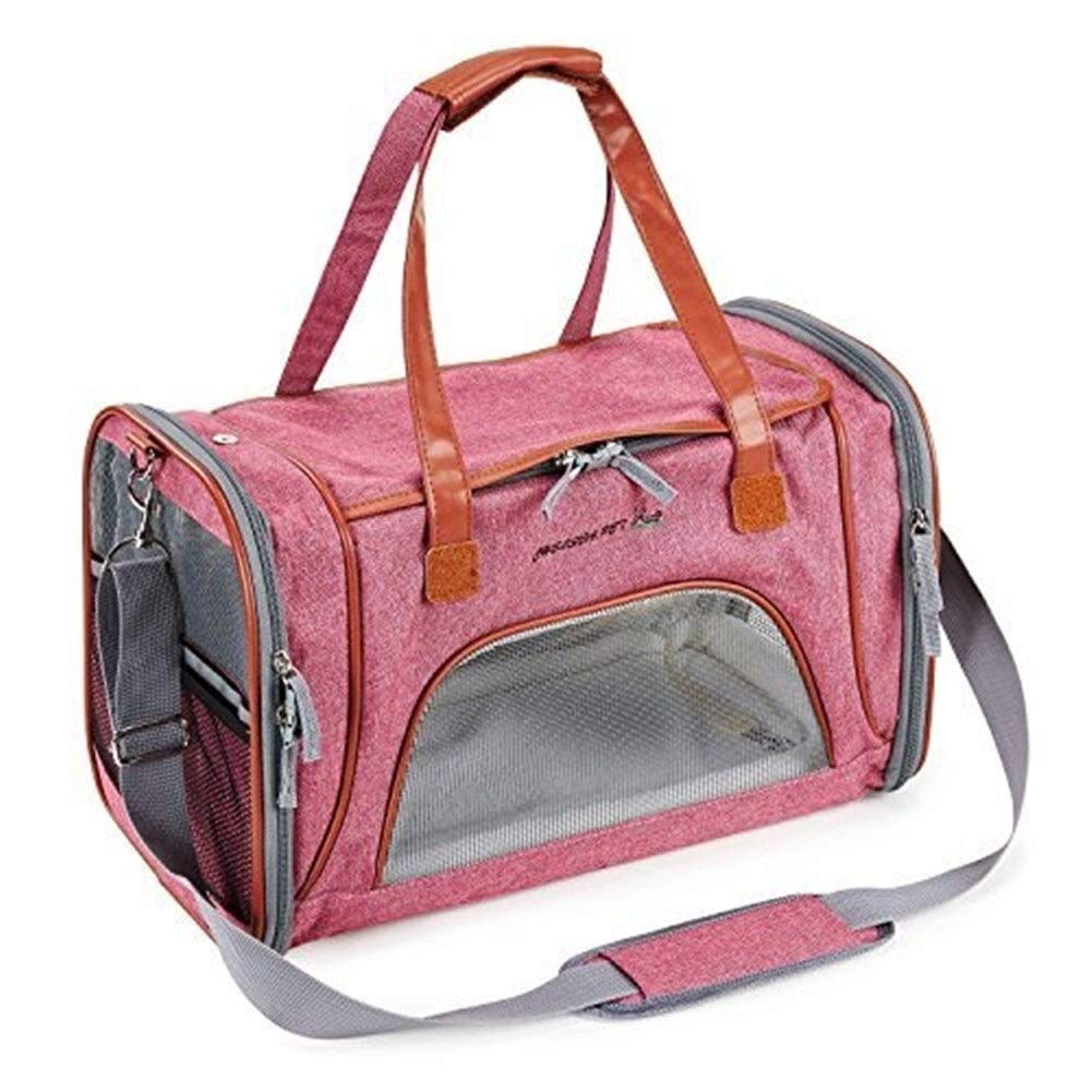 Airline Approved Cat Carrier Pouch Soft Pink Fabric Pet Carrier Top Opening Airline Dog Carry Journey Handbag Shoulder With Fleece Bed And Mesh Windows For Car Bike Travelling for Walking, Hiking and