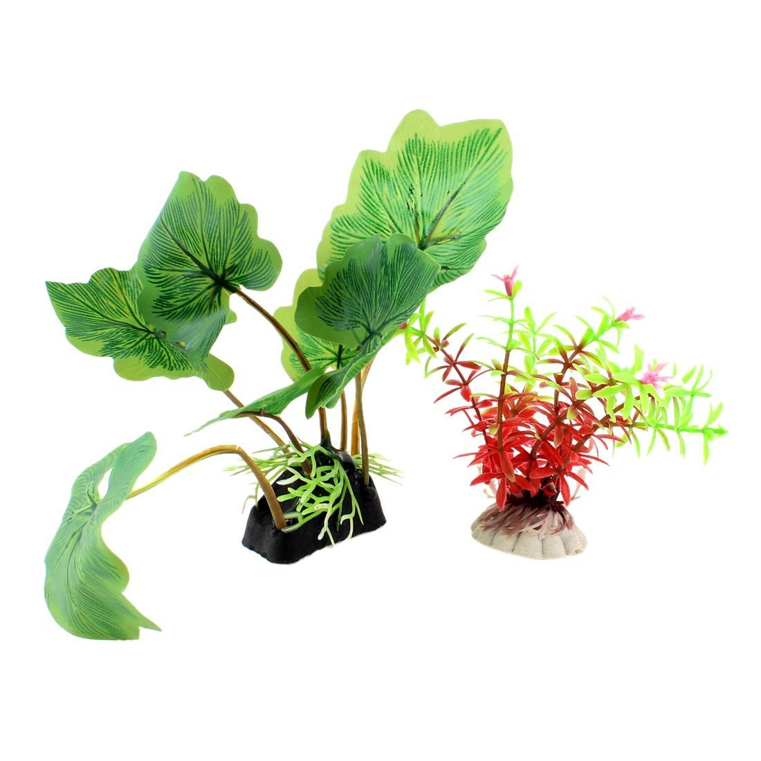 1Pc 2 Pieces Floral Accent Fish Tank Water Plants, 16cm, Green Red