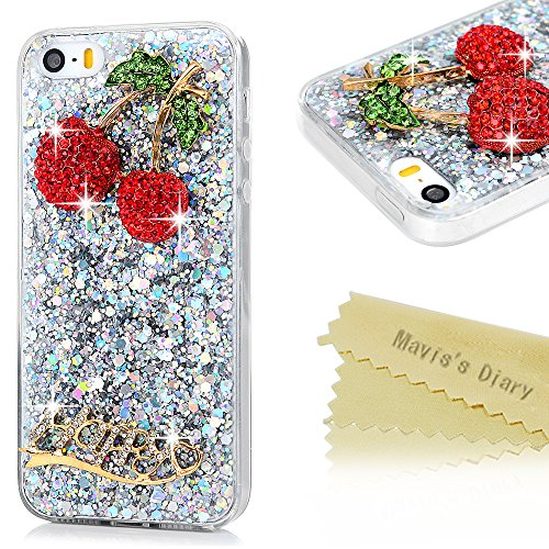 Mavis's Diary Coque iPhone 5/iPhone 5S/iPhone SE TPU Souple Bling Strass Cerise Housse de Protection Étui Téléphone Portable Phone Case Cover+Chiffon