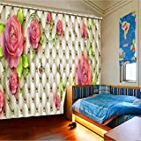 Sproud Quality Lifelike Beautiful Flowers 3D Printing Curtains Curtains Full Shade Bedroom Living Room Curtains 260Dropx200Wide(Cm) 2 pieces