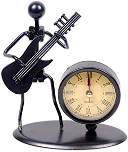 Classic Vintage Old Fashion Iron Art Musician Clock Figure Ornament For Home Office Desk Decoration Gift (C68 Electric Guitar)