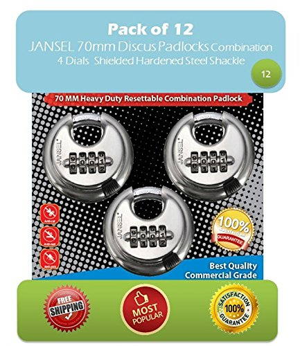 "JANSEL Disc Combination Padlock, Pack of 12, 70mm or 2-3/4""Stainless Steel Round Discus Combination Padlock 4 Dials with Shielded Shackle Hardened Steel Shackle weatherproof combination padlock by JANSEL"