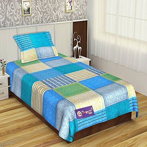 8c02646304 Buy TIB 152 TC Pure Cotton Printed Single Fitted Elastic Bedsheet with 1  Pillow Cover, Blue Online at Low Prices in India - Amazon.in
