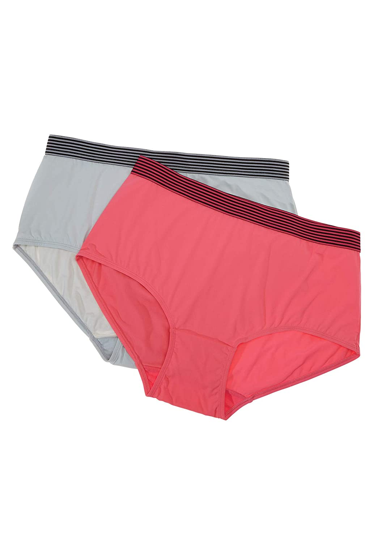 Comfort Choice Womens Plus Size 2-Pack Sport Waistband Full-Cut Brief