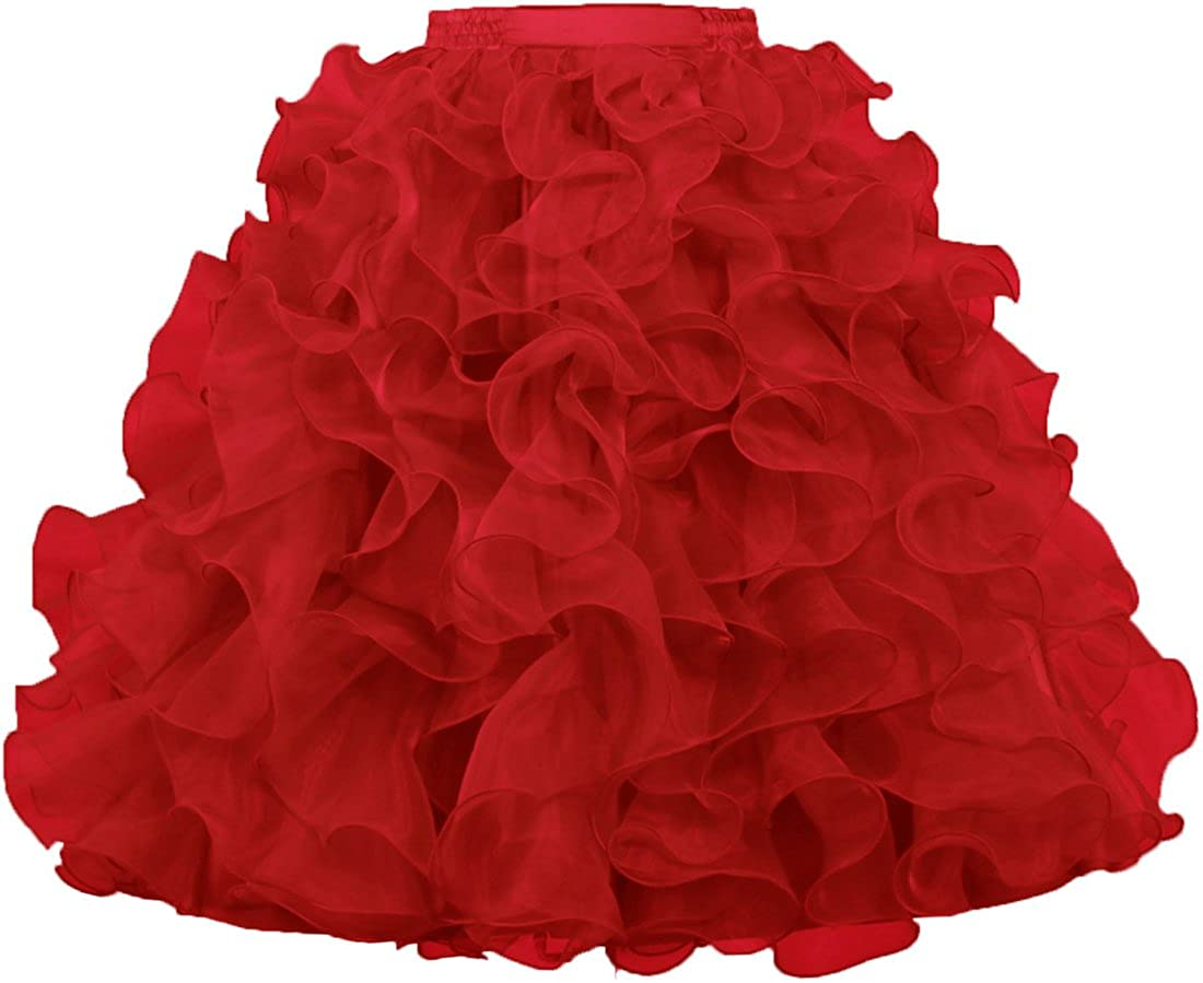 ANTS Women's 1950's Vintage Rockabilly Organza Ruffle Ball Gown Petticoat Skirt S003-MFN