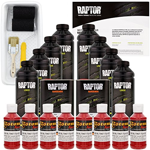 U-POL Raptor Hot Rod Red Urethane Spray-On Truck Bed Liner Kit w/ FREE Custom Shop Paint Roller, Tray & Brushes, 8 Liters