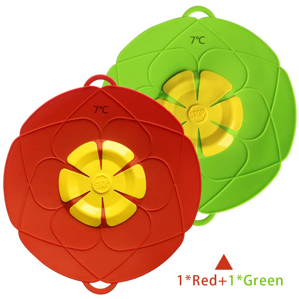 Spill Stopper Lid Cover,Anti Spill Lid Cover,No Boil Over Lid,Pot Cover Silicone Spill Stopper Lid,Boil Over Safeguard,Multi-Function Kitchen Tool (1 Green and 1 Red) (1Green+1Red)