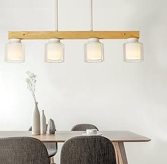 Led Pendelleuchte Esstisch Hängellampe 4 Flammig Holz Und Glas