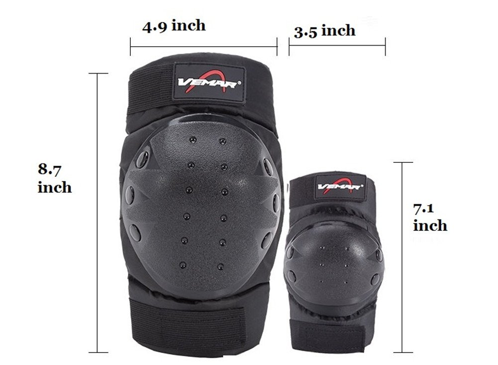 Rungear Shin Guards Adult Elbow /& Knee Pads Protector Flexible Breathable Adjustable Elbow Armor for Motorcycle Motocross Racing Mountain Bike Black-185 One size Fits Most,4 Pieces Black 4 Pieces Black