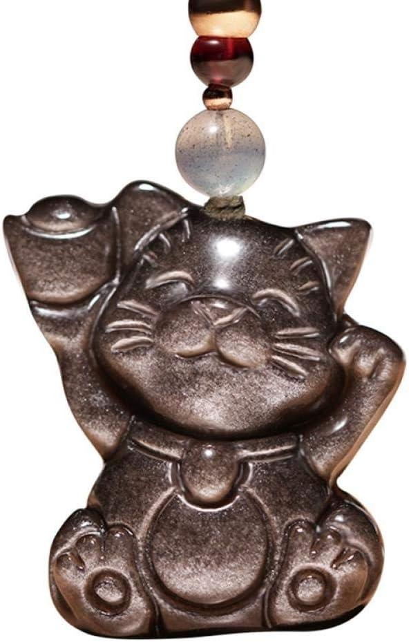 VFJLR Colgante Plata Obsidiana Riqueza Gato Jade Collar Colgante Tallado a Mano Lucky Cat Gemstone Lucky Amuleto para Hombres y Mujeres