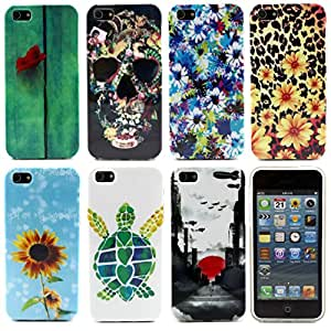 Baoer Classic Beauty Artistic Soft TPU Case Cover for Apple iPhone 5 5g iPhone 5S ,Design/Finish:C- small white flower
