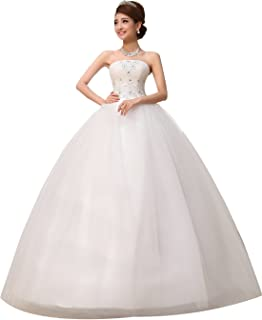 Obqoo 2019 Strapless Applique Beaded Pleats Ball Gown Wedding