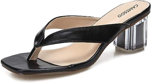 Women's Square Peep Toe Thong Sandals